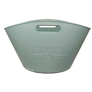Gucci Logo Teal Rubber Tote